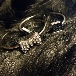 Jewelry - Bundle 2 Bracelets Silver Arrow Gold Crystal Bow